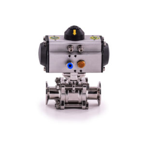 Actuated Three-Piece Encapsulated Tri-Clamp Ball Valve